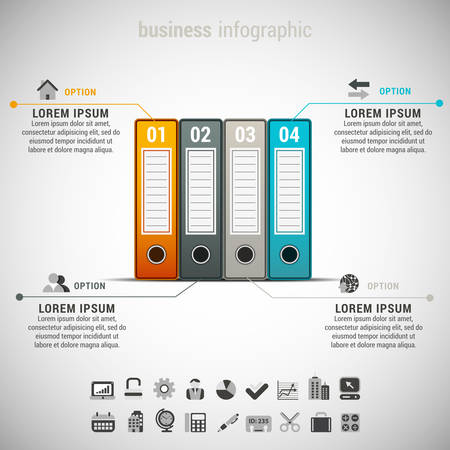 file folders: Vector illustration of business infographic made of file folders.