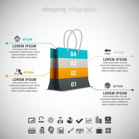 Vector illustration of shopping infographic made of shopping bag. Ilustração