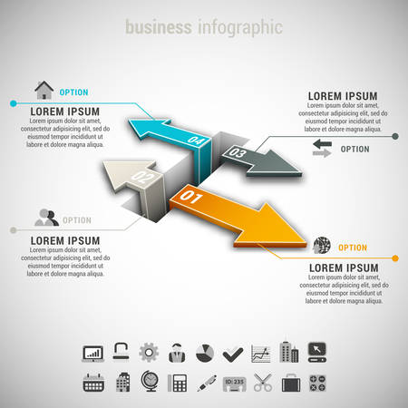 Vector illustration of business infographic made of arrows.