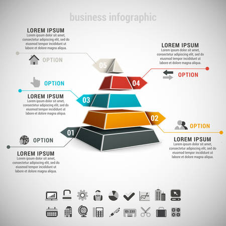 Vector illustration of business infographic made of pyramid. Vectores
