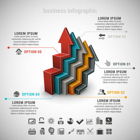 illustation: Vector illustation of business infographic made of arrows.