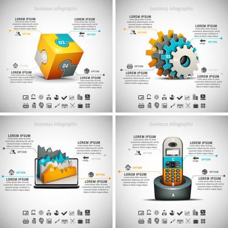 Vector set of business infographics. Vol.10. Ilustração