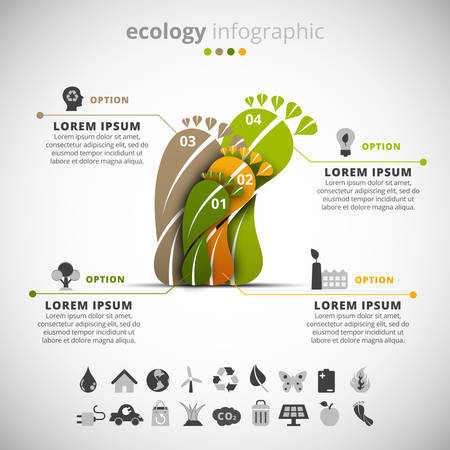 od: Vector illustration of ecology infographic made od feet leaves.