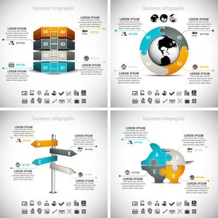 Vector set of business infographics. Vol.17.