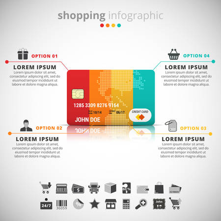 Vector illustration of shopping infographic made of credit card. Vettoriali