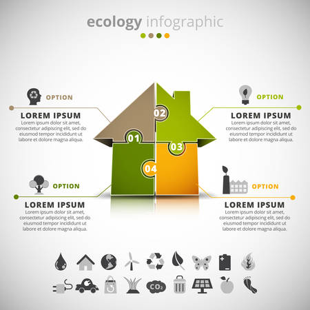 energies: Vector illustration of ecology infographic with house made of puzzle.