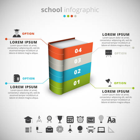 Vector illustration of school infographic made of book.
