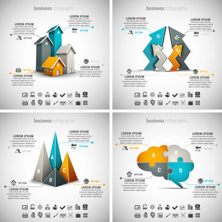 Vector set van business infographics. Vol.19. Stock Illustratie