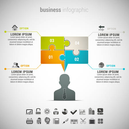 chat box: Vector illustration of business infographic made of businessman and chat box.