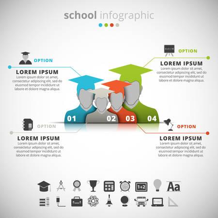 образование: Векторная иллюстрация школьных инфографики. Иллюстрация