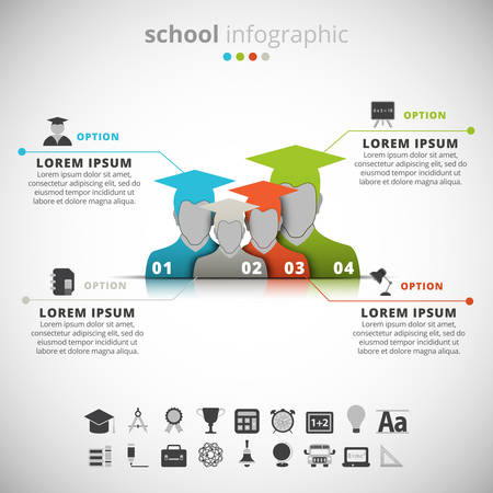 Vector illustration of school infographics.