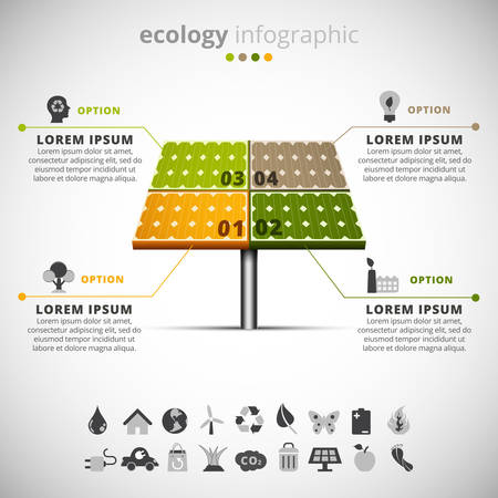 Vector illustration of ecology infographic made of solar panel. Ilustracja