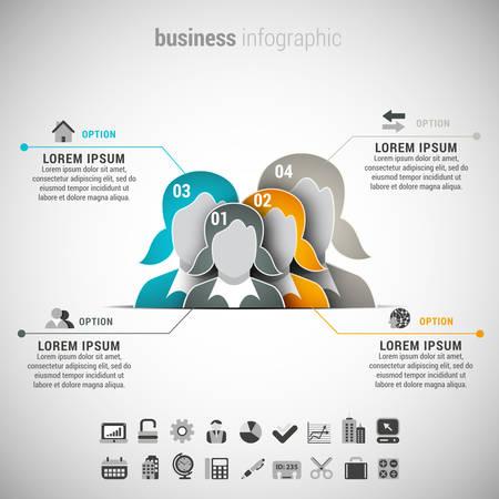 businesswomen: Vector illustration of business infographic made of businesswomen.