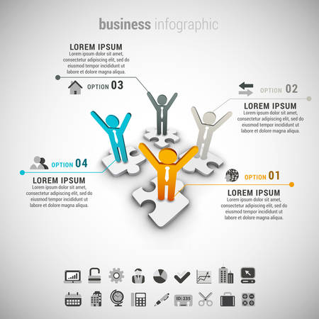 Vector illustratie van zakelijke infographic gemaakt van mensen.