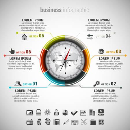 mapa de procesos: Ilustración del vector de infografía empresarial hace de brújula. Vectores