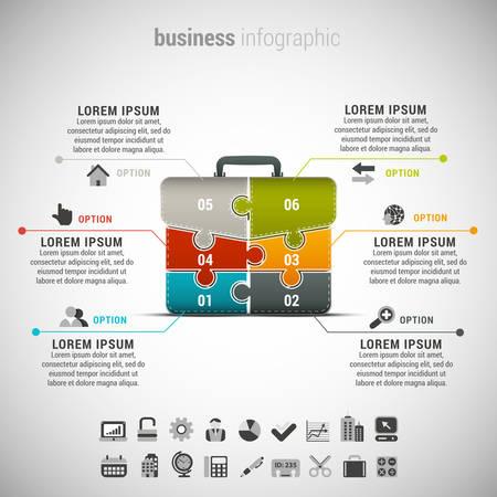 Vector illustratie van de zakelijke infographic gemaakt met aktetas gemaakt van puzzel. Stock Illustratie