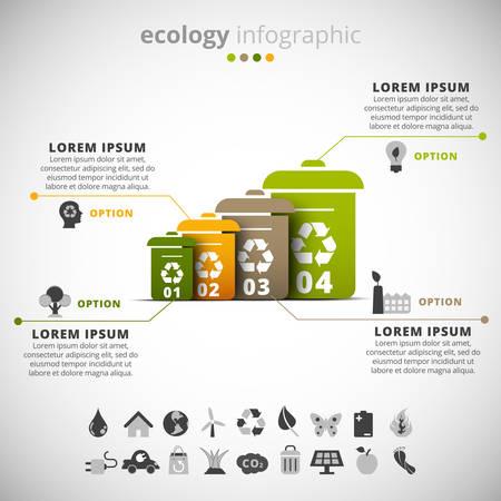 botes de basura: Ilustración del vector de la ecología infografía hecha de cubos de basura.