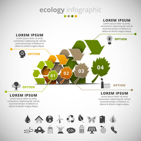 Vector illustration of ecology infographic made of recycle signs.