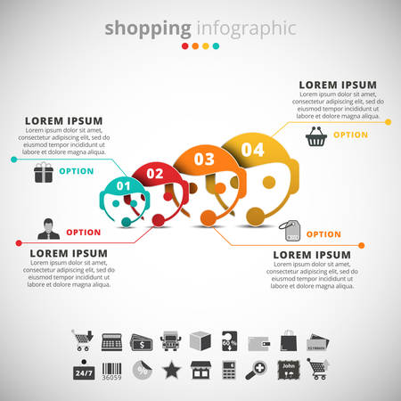 operators: Vector illustration of shopping infographic made of operators.