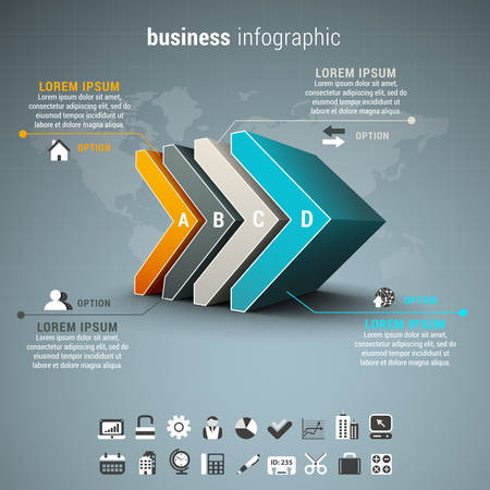 business process: Vector illustration of business infographic made of arrows.