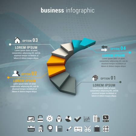 階段のビジネス インフォ グラフィックのベクター イラストです。  イラスト・ベクター素材