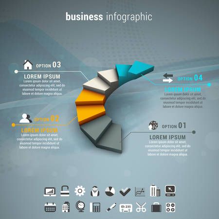 Vector illustration of business infographic made of stairs.