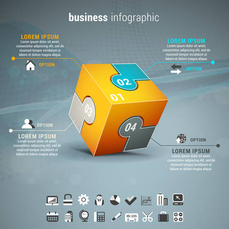 cube puzzle: Vector illustration of business infographic with cube made of puzzle.