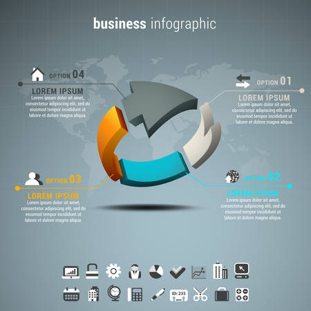 mapa de procesos: Ilustración del vector de infografía negocio hace de flecha. Vectores