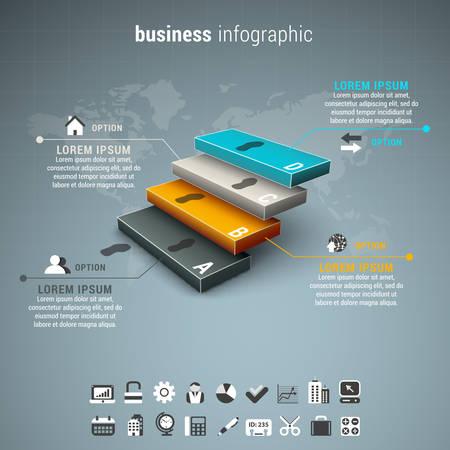 escalera: Ilustraci�n del vector de infograf�a empresarial integrado por las escaleras.