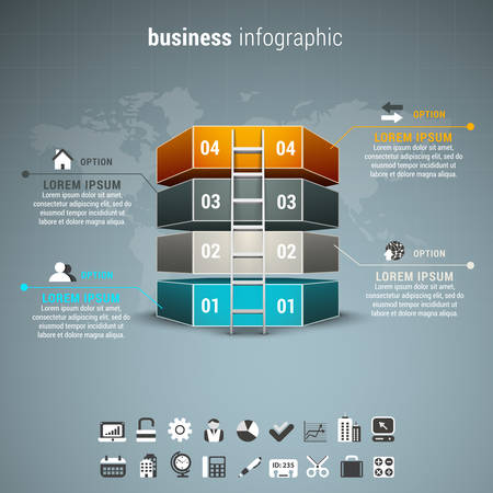 corporate ladder: Vector illustration of business infographic made of blocks and ladder.