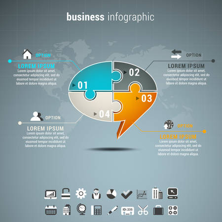 chat box: Vector illustration of business infographic with chat box made of puzzle. Illustration