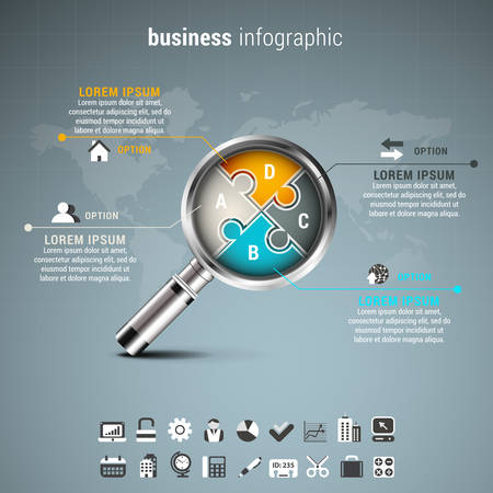 puzzle business: Vector illustration of business infographic with magnifier made of puzzle.