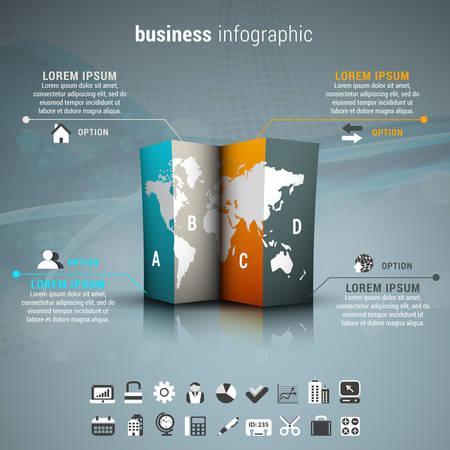 Vector illustration of business infographic made of folded paper and world map. Ilustração