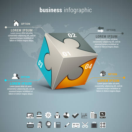 Vector illustration of business infographic with cube made of puzzle.