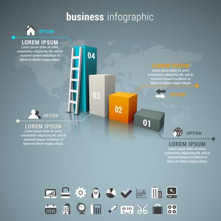 Vector illustratie van de zakelijke infographic gemaakt van grafiek en ladder. Stock Illustratie