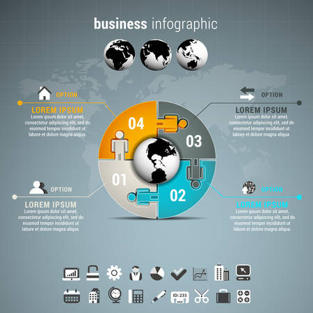 globe puzzle: Vector illustration of business infographic made of globe and puzzle.