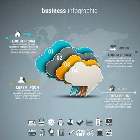 communication icons: Vector illustration of business infographic made of chat boxes.