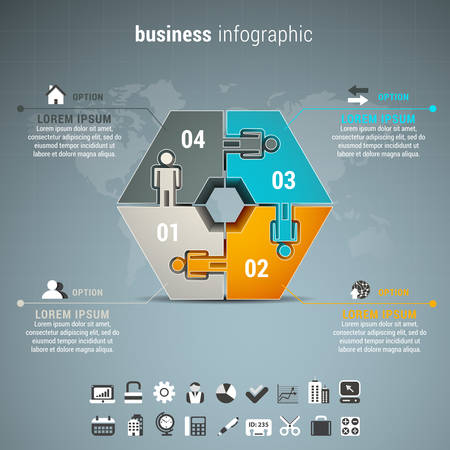 business decisions: Vector illustration of business infographic made of puzzle.
