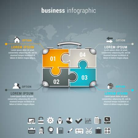 mapa de procesos: Ilustración del vector de infografía de negocios con la maleta hecha de puzzle. Vectores