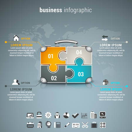 mapa de procesos: Vector illustration of business infographic with suitcase made of puzzle.