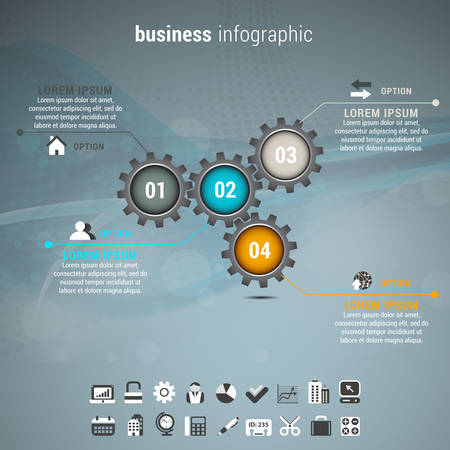 Vector illustration of business infographic made of gears. Vectores