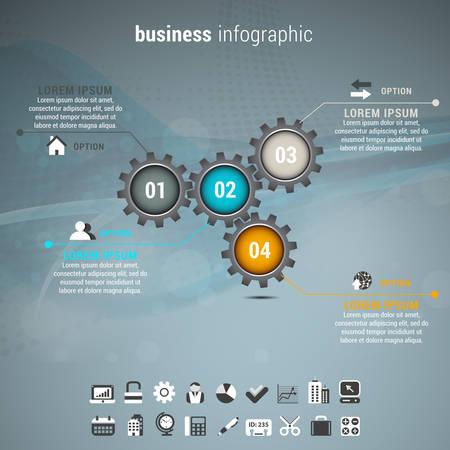 engranajes: Ilustraci�n del vector de infograf�a negocio hecho de engranajes.