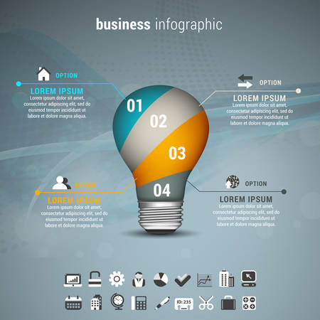 blue bulb: Vector illustration of business infographic made of bulb. Illustration