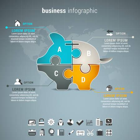Vector illustratie van de zakelijke infographic met spaarvarken gemaakt van puzzel. Stock Illustratie