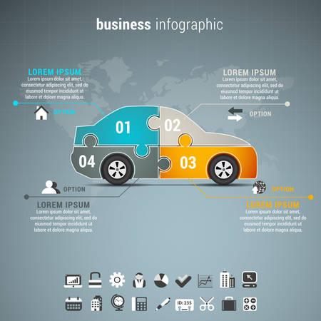 インフォ グラフィック ウィット ビジネスカーのベクトル イラストはパズルに成っています。  イラスト・ベクター素材
