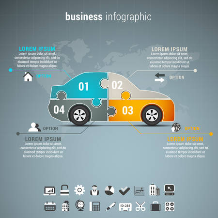 Vector illustration of business infographic witt car made of puzzle.