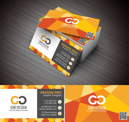 Vector illustartion of 3D creative business card mockup. Illustration