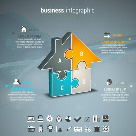 diagrama de procesos: Ilustración del vector de infografía de negocios con la casa hecha de rompecabezas.