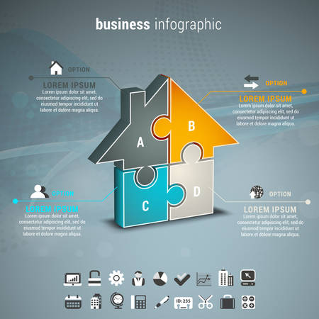 information symbol: Vector illustration of business infographic with house made of puzzle.