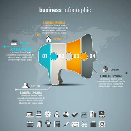 information design: Vector illustration of business infographic with speaker made of puzzle.